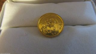 1986 5 Y Chinese Gold Panda Coin.  999 1/20 Oz photo