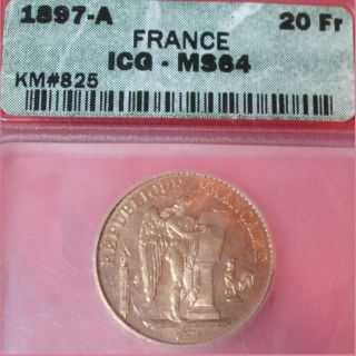 France 1897 - A Gold Angel Coin 20f Ms64 Choice+ Unc.  ; French Franc Francs photo