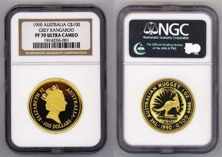 1990 Australia 1oz Gold Kangaroo $100 Ngc Pf 70 Ultra Cameo Rare photo