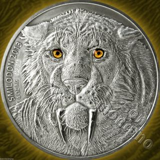 4 Oz Smilodon Saber Toothed Tiger - 2013 Burkina Faso 5000 Francs Silver Coin photo