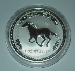 2002 Australia Horse Series I Lunar 1 Oz.  Silver Dollar Low Mintage 99,  632 photo
