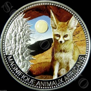 2013 Niger Jade Fennec Fox 1oz Proof Silver Coin In Wood/leather Box 500 Minted photo