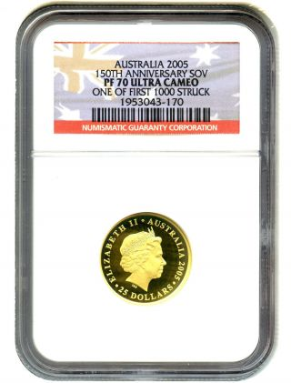 Australia: 2005 Gold Sov Ngc Pf70 Ucam (150th Anniversary) With Packaging photo