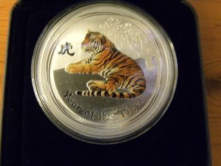 2010 Australia $2 Year Of The Tiger,  2 Oz Anda Coloured Edition photo