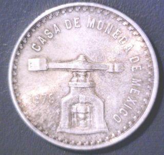 1979 Mexico 1 Ounce Of Pure Silver Coin Onza De Plata Pura 33.  62 Grams Total Wt. photo