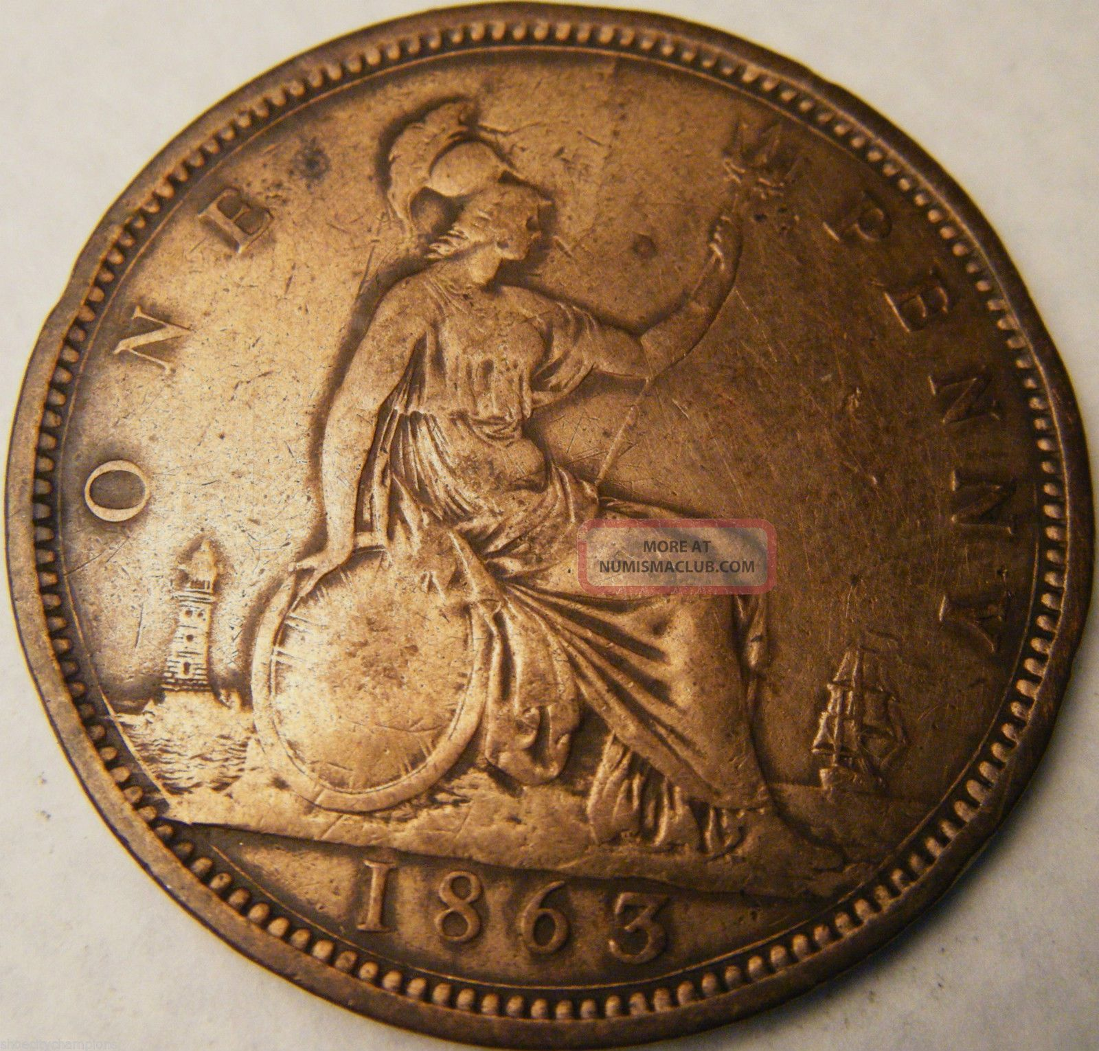 1863 Great Britain Penny Vf Details Km 749 2