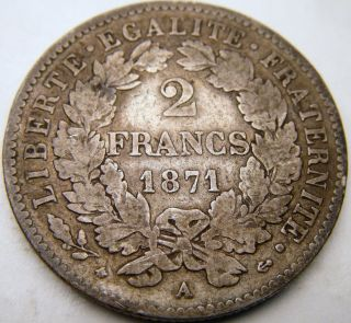 1871 A France 2 Francs - Xf - Km 817.  1 -.  835 Silver - Usa - Small A photo