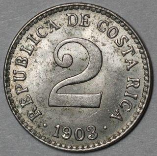 1903 Unc Costa Rica 2 Centimos (elusive 1 Year Type) Coin photo