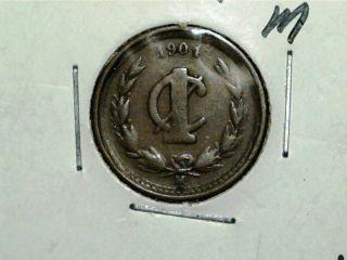 1901 M Mexico 1 Un Centavo photo