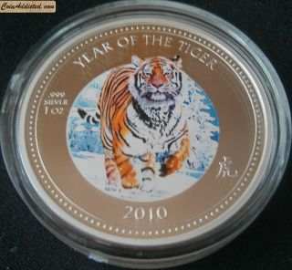 Lunar 2010 1 Oz Year Tiger $2 Silver Colored Collectible Zealand (pitcairn) photo