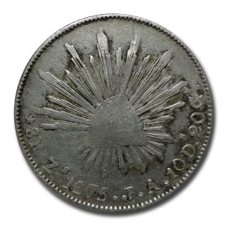 Mexico Zacatecas Zs 1875 J.  A.  8 Reales Cap And Rays Silver Coin (2045) photo