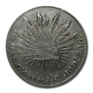 Mexico Guadalajara Ga 1877 I.  C.  8 Reales Cap And Rays Silver Coin (2041) photo