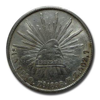 Mexico Zacatecas Zs 1898 F.  Z.  Un Peso Cap And Rays Silver Coin (2051) photo
