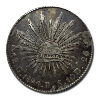 Mexico Guanajuto Go 1894 R.  S.  8 Reales Cap And Rays Silver Coin (1916) photo