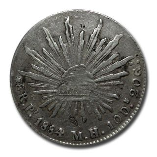 Mexico San Luis Potosi Pi 1884 M.  H.  8 Reales W/ Micro Chops Silver Coin (2044) photo