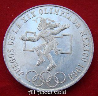 Silver Coin 1968 Mexico $25 Pesos Olympics Asw.  5209 Aztec Dancer Eagle Au/bu photo
