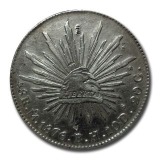 Mexico Mo 1876 B.  H.  8 Reales Cap And Rays Silver Coin (2037) photo