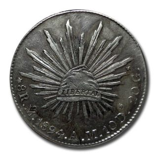 Mexico Mo 1894 A.  M.  8 Reales Cap And Rays Silver Coin (2038) photo