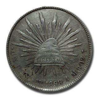 Mexico Mo 1899 A.  M.  Un Peso Cap And Rays Silver Coin (2050) photo