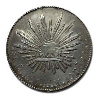 Mexico Mo 1897 A.  M.  8 Reales Cap And Rays Silver Coin (1923) photo