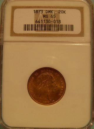 Denmark 1873 Gold 20 Kroner Ngc Ms - 65 photo