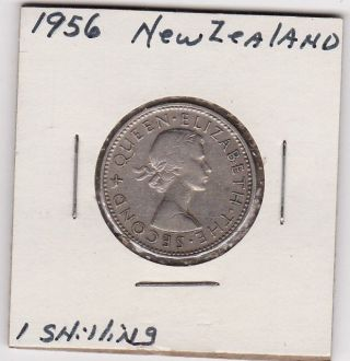 One Shilling Coin Zealand 1956 165 photo