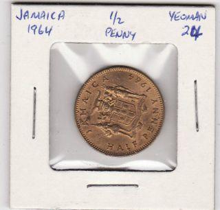 Jamaica 1/2 Penny 1964 Half Penny World Coin 142 photo