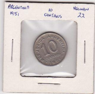 Argentina 10 Centavos 1951 World Coin 106 photo