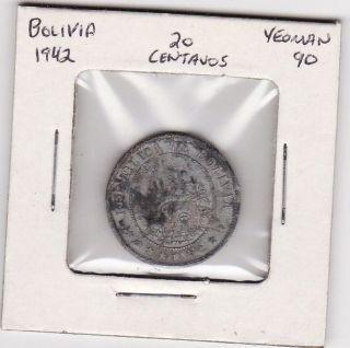 Bolivia 20 Centavos World Coin 1942 182 photo