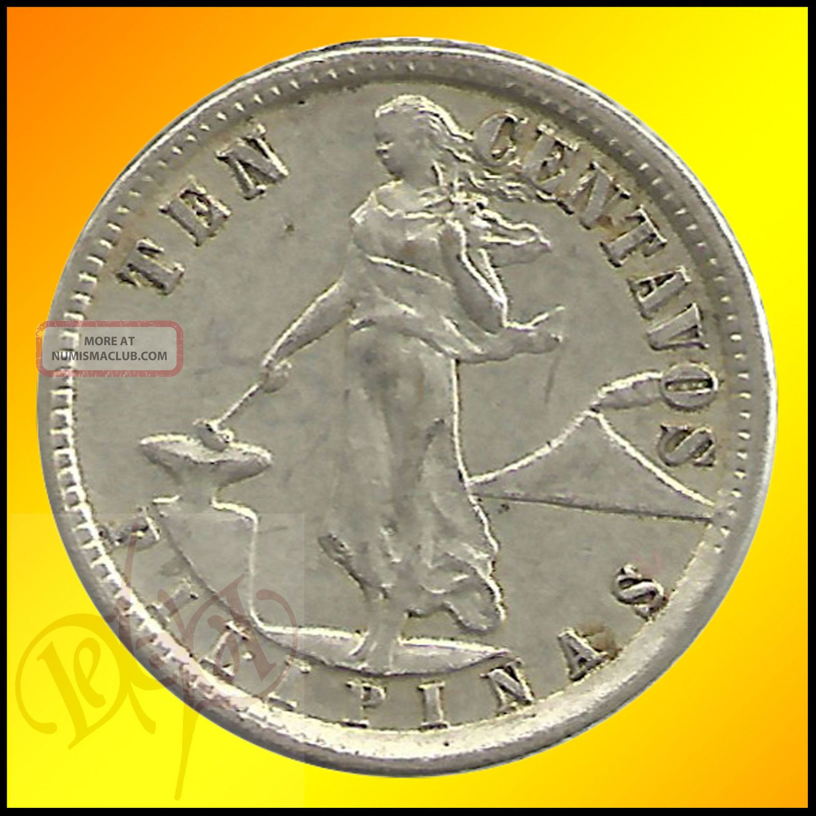 Coin Ph: Us Philippines 10 Centavos 1921 Silver Coin