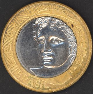 1 Real 2004 Brasil Brazil Bi - Metal Coin Bi - Metallic Unc Bi Metal photo