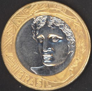 1 Real 2007 Brasil Brazil Bi - Metal Coin Bi - Metallic Unc Bi Metal photo