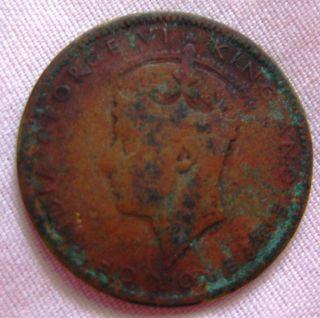 1938 Jamaica Half Penny Low Mintage Coin King George Vi Emperor. photo