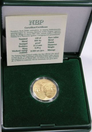 Gold Coin 100 Zł (enigma - Machine To Try To Break Ciphers) 2007.  + + Box photo