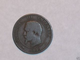 1853 A 10 Centimes Coin France Dix photo