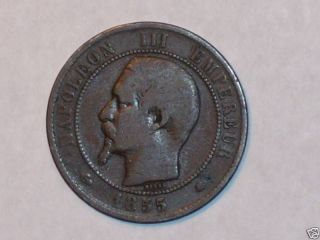 1855 Bb 10 Centimes Coin France Doubled B photo