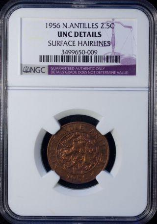 1956 Netherlands Antilles 2 1/2 Cents Ngc Unc Details photo