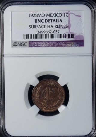 1928 Mo Mexico 1 Centavo Ngc Unc Details Bronze photo