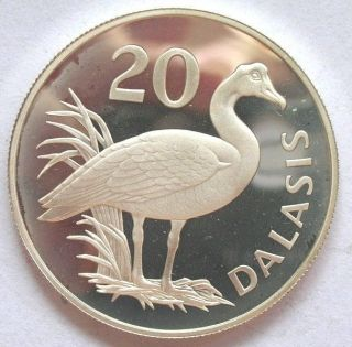 Gambia 1977 Goose 20 Dalasi Silver Coin,  Proof photo