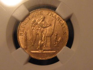 1896 France 20 Francs Gold Ngc Ms63 Uncirculated - photo