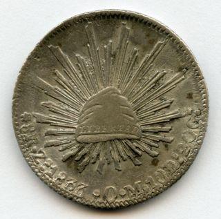 1833 - Zs - Om Mexico 8 Reales (zacatecas) Rare Overdate,  Originaly Toned Xf. photo