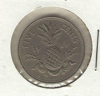 Bahamas 5 Cents,  1969 photo