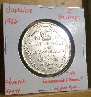 Km 40 Copper Nickel Jamaica 5 Shillings,  1966,  Viii Commonwealth Games Bid/buy photo