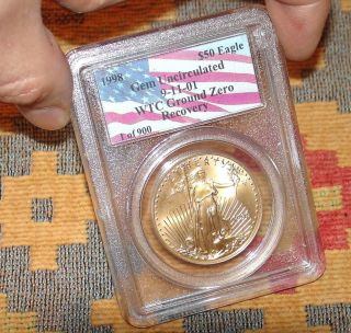 Very Rare Ground Zero1998 Pcgs Unc Gold Us Eagle Coin Wtc 9/11/01 Recovery L@@k photo