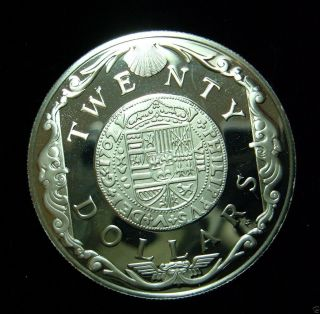 British Virgin Islands 1985 20 Dollars Coin.  925 Silver Pf Gold Doubloon Of 1702 photo