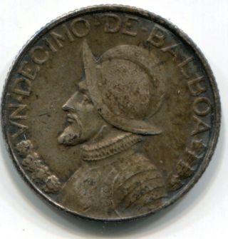 Panama 1932 10c Decimo 90%.  900 Fine Silver -.  0723 Asw - Ef/au - Low Mintage photo