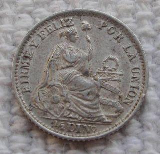 1905 Peru 1/2 Dinero Silver Coin Seated Liberty South America Km 206.  2 Au/unc photo
