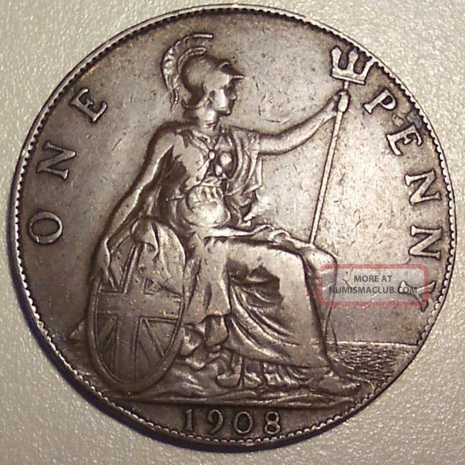 1908 Great Britain Penny UK (Great Britain) photo