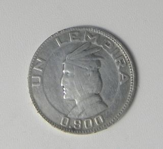 Honduras 1937 Vintage Silver Coin - Un Lempira 0.  900 photo