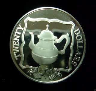 British Virgin Islands 1985 20 Dollars Coin.  925 Silver Proof Teapot photo